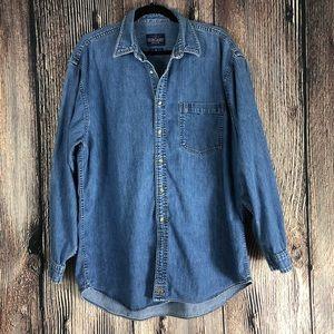 EverGreen Button Down Denim Cotton Shirt | Size L